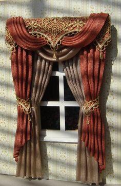 Miniature Dollhouse curtains to order by TanyaShevtsova Doll Furniture, Home Decor Furniture, Dollhouse Furniture, Window Coverings, Window Treatments, Doll House Curtains, Georgian Interiors, Faux Beams, Pelmets