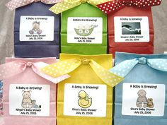 """A Baby Is Brewing: Tea Baby Shower Favors, Cappuccino and Iced Tea"