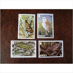 Jersey 1989 Rare Fauna set mint postage stamps GB SG492-5 frog lizard barn owl butterfly