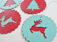 Paper Christmas Tree Reindeer Scalloped Round Gift Tags, Red Teal Round Paper Holiday Reindeer Cut Outs, Large Christmas Gift Tags, Set of 4. $4.25, via Etsy.