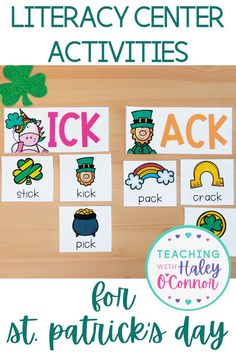 Printable St. Patrick's Day activities for lesson plans in literacy centers. This pack is loaded with activities and includes both color and black & white print options. Includes word work activities like sorting words by sound and matching games. Perfect for Kindergarten, First Grade, or Second Grade spring lesson plans! | Printable Spring Activities | St. Patrick's Day lesson plans | Digital Download literacy center activities |