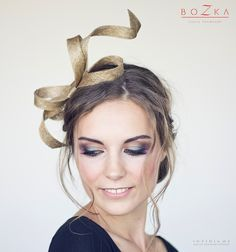 I'm obsessed with the idea of wearing a modern fascinator to the next wedding I attend - like this gold headpiece by boZkaLuxuryHandmade on Etsy