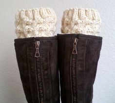 Boot cuffs  / Boot socks / Short Cable Leg warmers / Boot tops  for girls, teens, women - BEIGE - (more colors available). $23.00, via Etsy.