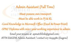 We're looking for Admin Assistant, See link for more Details.  https://www.facebook.com/apmatchlink/photos/a.10152233278302880.1073741826.359210092879/10152792721897880/?type=1&theater …  #MatchlinkJobs