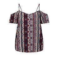 Pink Aztec Print Strappy Open Shoulder Cami  | New Look