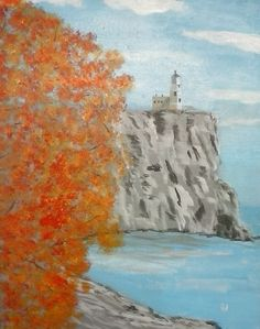 """""""Split Rock Lighthouse"""" 16 x 20 acrylics on stretched canvas.  Sold to Paul Neyrink."""