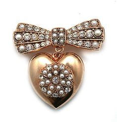 Amaro Jewelry Studio Pearl Gem Collection 24K Rose Gold Plated Heart, Bow Brooch