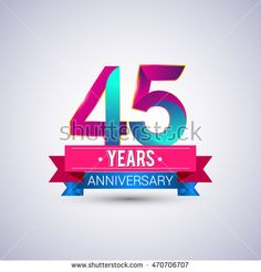 45 years anniversary logo, blue and red colored vector design