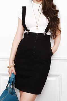 Black High Waist Bodycon Overall Skirt (380 MXN) ❤ liked on ...