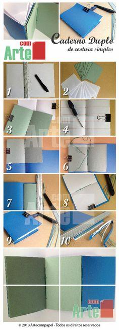 Encadernação dupla.-->> Aprenda mais Aqui: http://www.artecompapel.com.br/wp/r/pin_livro/ #encadernacao #papel