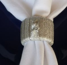 Shimmery Silver Napkin Rings  Set of 4 by TheFortunateHome on Etsy