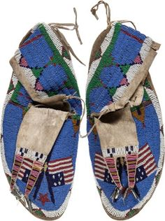 American Indian Art:Beadwork and Quillwork, Important Pair of Beaded Hide Moccasins Belonging to Chief RedCloud.... (Total: 3 Items)