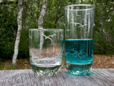 When the fish are dry, it's time for a refill. Seagulls and Fish Etched Glass Whiskey and Tall Drinking Glasses. 12 ounce and 16 ounce.