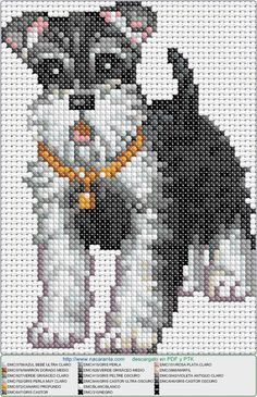 Miniature Schnauzer Cross Stitch Pattern with DMC Numbers in the Key Cross Stitch Numbers, Cross Stitch Heart, Cross Stitch Animals, Graph Crochet, Crochet Cross, Beaded Cross, Cross Stitching, Cross Stitch Embroidery, Cross Stitch Patterns