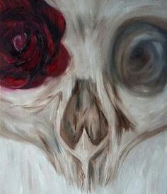 """Skull"" 16x20 oil on panel #skullpainting #oilpainting #art #skullrose #DenveArt"