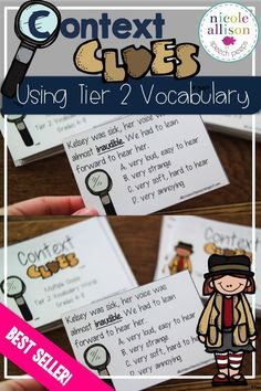 Context clue cards using Tier 2 Vocabulary-Evidence-based!