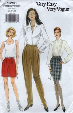 Free Us Ship  Sewing Pattern Retro 1990s 90's 1992 Vogue 8290  Pleated Pants ShortsSkirt Uncut Size 18 20 22 Waist 32-37 1995 by LanetzLiving on Etsy