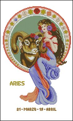 Horoscope Signs, Zodiac Signs, Aries, Close Image, Cross Stitch Patterns, Tarot, Embroidery, Retro, Disney Characters