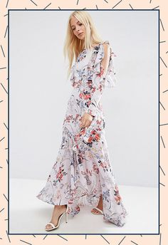 Like a romantic goddess, rock up in this frilly floral number, which is super-demure but has peekaboo shoulders, so it's still a bit of you