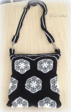 Sac (bag) au crochet - African Flowers - Granny