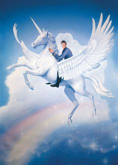 Illustration of Spock Riding a Majestic Unicorn Over a Rainbow
