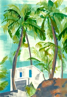 Inspired by India silkscreen print of home & palm trees by artist Sophie Rae. Down and Out Chic Art And Illustration, Illustrations, Palm Tree Print, Palm Trees, Circle Drawing, Tropical Art, Tropical Prints, Artist Art, Printmaking