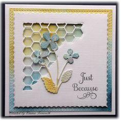 Just because card, tim holtz mixed media corner dies, poppystamps viola die, justrite sentiment. Brusho & Pixie Powder