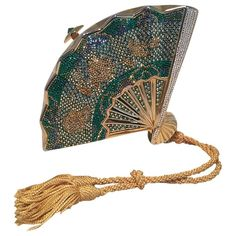 For Sale on - Judith Leiber Swarovski Crystal Fan Minaudiere Evening Bag Clutch Wristlet in excellent condition. Gold metal body in a unique fan shape with green, clear, Fashion Handbags, Purses And Handbags, Fashion Bags, Judith Leiber, Leather Evening Bags, Unique Purses, Unique Handbags, Unique Bags, Luxury Bags