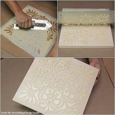 How to Stencil DIY Terracotta Wall Art Tiles with Chalk Paint Tutorial VIDEO Tutorial: How to Stencil DIY Terracotta Wall Art with Royal Design Studio Tile Stencils & Annie Sloan Chalk Paint Metal Tree Wall Art, Diy Wall Art, Diy Art, Metal Art, Stencil Diy, Stencil Designs, Tile Stencils, Stenciling, Stencil Painting On Walls