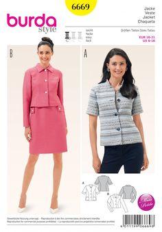 Burda B6669 Women's Jacket Sewing Pattern