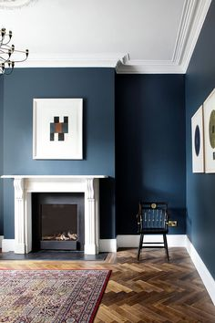 Living Room Suzie Mc Adam navy living room, hague blue livingroom, How To Bu Navy Living Rooms, Living Room Themes, Living Room Paint, New Living Room, Living Room Modern, Home And Living, Living Room Designs, Small Living, Dark Blue Living Room