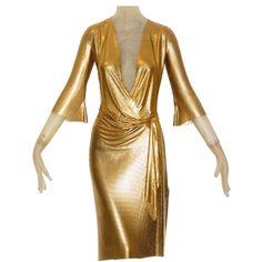 Gianni Versace Clothing | Gianni Versace Gold Draped Metal Mesh Dress at 1stdibs