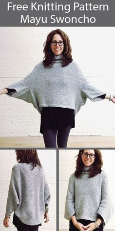 Free Knitting Pattern for Mayu Sweater Swoncho Sizes S to 3XL - Easy to wear pullover that is perhaps best described as a stylish poncho with sleeves. Sizes S/M, L/XL, 2XL/3XL. Designed by Espace Tricot. Knitting Patterns Free, Free Knitting, Free Pattern, Sweater Patterns, Poncho Sweater With Sleeves, Poncho Tops, Knitted Poncho, Garter Stitch, Lana