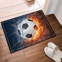NYMB Sports Decor Soccer Ball on Fire Water Flame Bath Rugs, Non-Slip Floor Entryways Outdoor Indoor Front Door Mat,60x40cm Bath Mat
