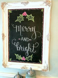 Merry and Bright Chalk board sign Kitchen Chalkboard, Chalkboard Decor, Chalkboard Print, Chalkboard Lettering, Chalkboard Designs, Christmas Love, Christmas Signs, Christmas Holidays, Christmas Decorations