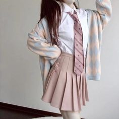 Jk uniform high waist skirt - unzzy - - Material: AcrylicColor: gray, black, pinkSize: S, M, LS: The skirt is long and the waist is The skirt. Kawaii Fashion, Lolita Fashion, Cute Fashion, Girl Fashion, Teen Fashion Outfits, Cool Outfits, Fashion Dresses, Baby Outfits, Beautiful Outfits
