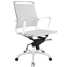 LexMod Tempo Vinyl Office Chair, White