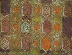 Brokatpapier, goldfarbene Reliefierung auf Schabloniertem Papier. © Staatsbibliothek zu Berlin – Stiftung Preußischer Kulturbesitz