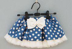 Toddler Girls Navy Blue and White Polka Dot Bow Tutu Skirt - $29.99 [etsy]