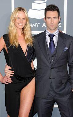 Adam Levine wore a dark grey three piece suit