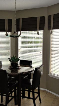 Like the idea of cornice boards and blinds for dining/kitchen areas instead of curtains