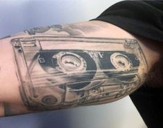 Masculine Inner Arm Cassette Tape Mens Realistic Tattoo Ideas