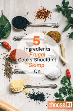From good spices to quality eggs, here are five ingredients that even frugal cooks shouldn't skimp on. Frugal Meals, Budget Meals, Frugal Recipes, Planters Peanuts, Real Maple Syrup, Raw Nuts, Save Money On Groceries, Freezer Cooking, Healthy Options
