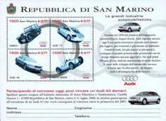 Sello: Audi cars (San Marino) (Volkswagen) Mi:SM BL26,Sn:SM 1467,Yt:SM BF27,Un:SM BF63. Buy, sell, trade and exchange collectibles easily with Colnect collectors community. Solo Colnect empareja automáticamente los objetos de colección que deseas con los objetos de colección que los coleccionistas ofrecen para venta o intercambio. El Club de coleccionistas de Colnect revoluciona tu experiencia como coleccionista!