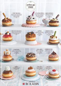 Die jährliche Sammlung von Roladin Hanukkah Donuts, auch bekannt als Sufganyot i . Easy Baking Recipes, Donut Recipes, Cupcake Recipes, Dessert Recipes, Keto Recipes, Cafe Food, Food Menu, Food Food, Delicious Donuts