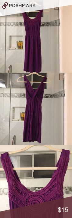 """Purple crochet dress Elastic cinches right under the breasts to accentuate the waist area! Back forms an """"X"""" shape. Only worn a handful of times. I'm 5'7"""" and it sits about 6"""" above my knees. Forever 21 Dresses"""