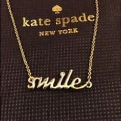 """NWT Kate Spade Smile Necklace Price firm No Offers. Adorable!!  New with tags and comes with Kate Spade dustbag and gift box. Sold out online and in stores!  Gold plated. Lobster claw closure. Measures 16"""" long. No trades.  More pics coming soon! kate spade Jewelry Necklaces"""