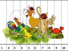 Sensory Activities, Activities For Kids, Number Puzzles, Picture Boards, Math Classroom, Math Games, Farm Animals, Education, Children