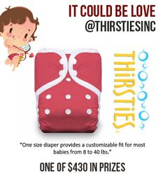 @Thirsties Baby  are among our favorite and most used diapers! Are they part of your stash? Win A One Size Pocket Diaper through 'It Could Be Love 2014' #pomonalove!