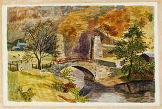 Kenneth Rowntree - Bridge to Cox's Farm, Ashopton, 1940